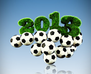 3D 2013 year grass text, title with Footballs
