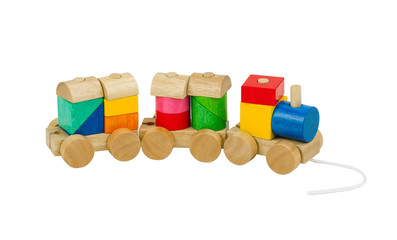 colorful wooden toy train for children isolated