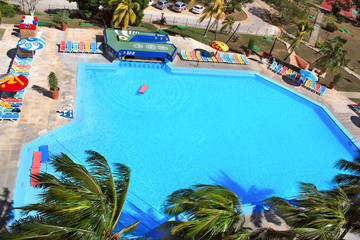 Nice blue outdoor swimming pool