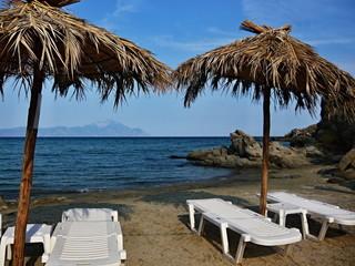 Sarti-views of the beach and the mountain Athos