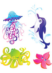 Cartoon sea animals isolated on a white