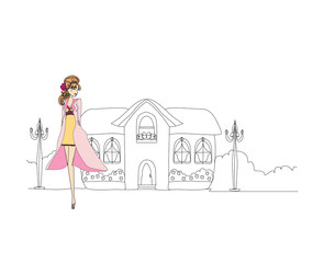 beautiful fashion girl on the street. vector illustration