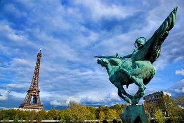 Eiffel Tower, Paris, Fance. Jeanne d'Arc statue