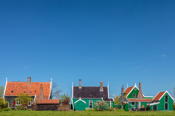Traditional green Dutch historic houses