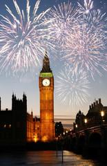 Wall Mural - Fireworks over Big Ben