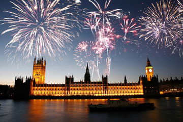 Fotomurales - Fireworks over Palace of Westminster
