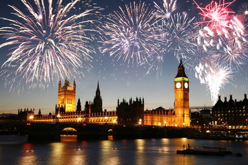 Wall Mural - Fireworks over Palace of Westminster