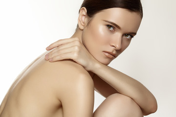 Wellness, body & diet. Beautiful woman model with clean skin