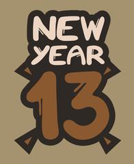 New year 13 sticker