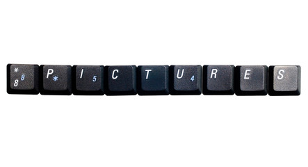 Text pictures made of computer keys