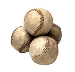 Four dirty baseballs