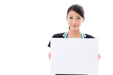 beautiful asian woman with blank whiteboard