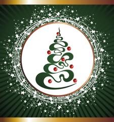 Christmas tree in stars frame