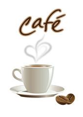 Kaffeetasse mit Herz und Bohne