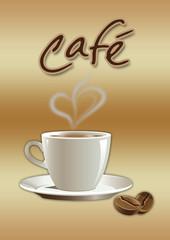 Kaffetasse mit Herz und Logo