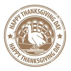 Label with the turkey and the words Happy Thanksgiving Day