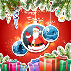 Christmas card with gifts and Santa