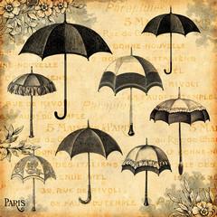 Wall Mural - Les parapluies
