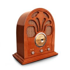 Retro vintage wood radio on a white background