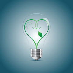 Bulb lamp with green sprout inside