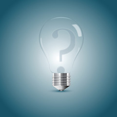 Bulb lamp with question sign inside