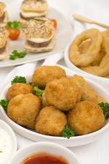 Party Food - Breaded mushrooms, onion rings & mini cheeseburgers