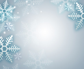 Beautiful snowflake blue Christmas background with copyspace