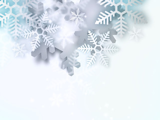 Beautiful snowflake simple Christmas background with copyspace