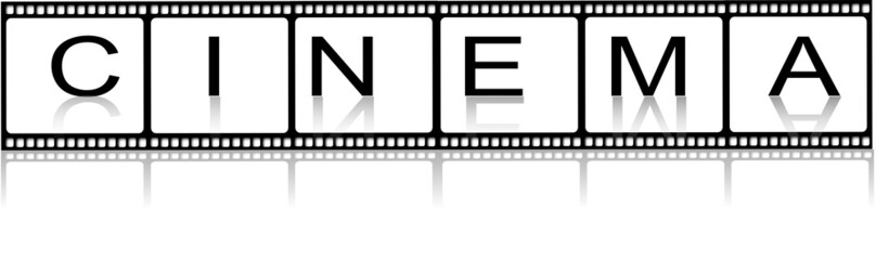 Blank film film strips with cinema inscription