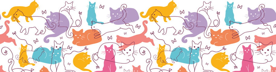 Vector Colorful Cats Horizontal Seamless Pattern Ornament. Cute,