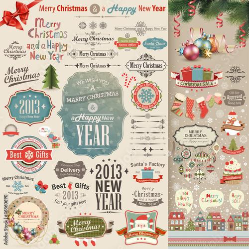 Wall mural Christmas vintage Scrapbook set