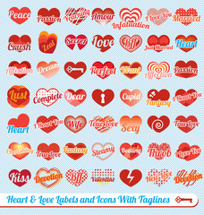 Vector Set: Hearts with Tag Lines Labels