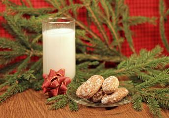 Milk and gingerbread for Santa, close-up