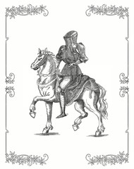 Knight of the Middle Ages - vintage engraved illustration