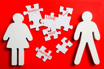 Puzzle pieces of a healthy relationship.