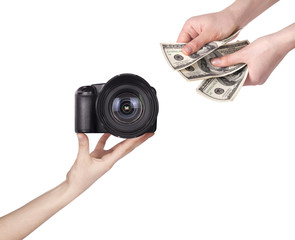 purchase and sale of photo camera isolated