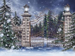 Fototapeta Stara brama ze świątecznymi choinkami