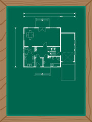 house plan on the green board in white color. ground floor