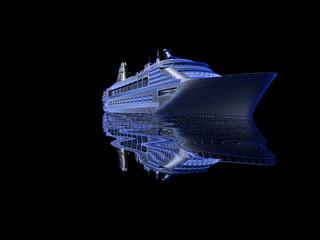 luxury yacht model isolated on black background