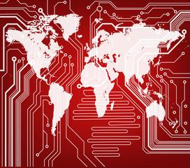 background of digital world map