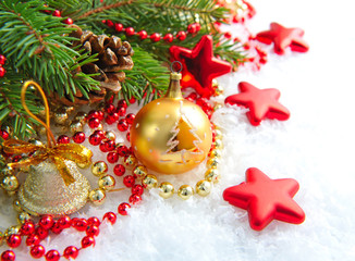 Christmas decorations of bauble are with the branches of fir on