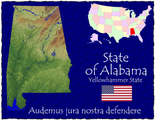 Alabama USA State map location nickname motto