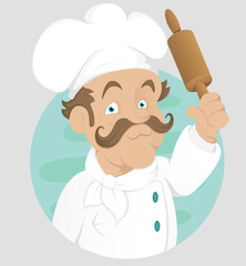 Chef - Cook - Cartoon Character - Vector Illustration