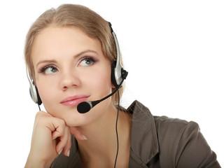 Close-up portrait of a customer service agent