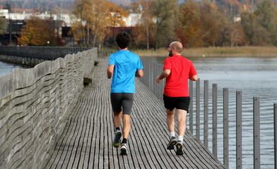 jogging sur le pont de Rapperswil