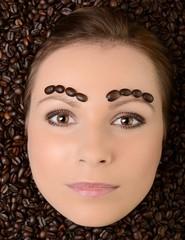 Poster Coffee bar Beautiful Woman with Coffee bean