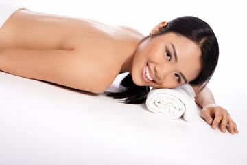 Beautiful Asian woman at a spa