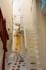 Tiny white path in Mykonos Island Cyclades Greece