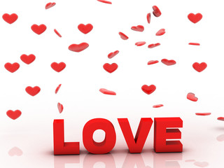 Valentine Love, 3D background with red heart