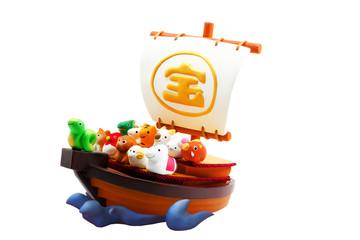 宝船と巳年の可愛い十二支の仲間